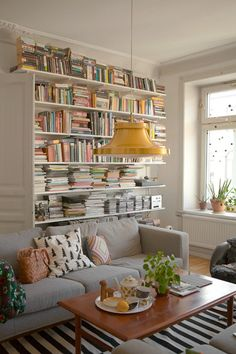 Lots Of Books In A Livingroom With Grey Sofa And Golden Lamp