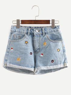 Blue Embroidered Cuffed Denim Shorts -SheIn(Sheinside) Mobile Site