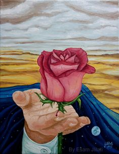 Original oil painting, Modern emotional Surrealism Art with Roses hold in hand in landscape environment The Painting title: Beauty has T Oil On Canvas, Canvas Art, Original Art, Original Paintings, Rose Illustration, Surrealism Painting, Rose Art, Paintings I Love, Surreal Art