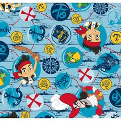Disney Jake Treasure Quest Bubbles Fleece Fabric by the Yard
