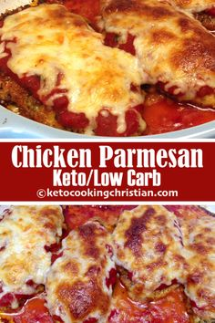 Chicken Parmesan - Keto, Low Carb & Gluten Free Chicken Parmesan - Keto, Low Carb & Gluten Free I took one of my all time favorite dishes and make it Keto-friendly. This chicken is packed with so much flavor, you will honestly never know the difference! Low Carb Dinner Recipes, Keto Dinner, Diet Recipes, Healthy Recipes, Banting Recipes, Healthy Nutrition, Lunch Recipes, Appetizer Recipes, Cake Recipes