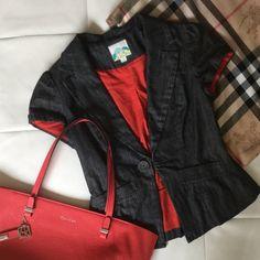 Short sleeve denim blazer Short sleeve black/ gray denim blazer. Fully lined. Very flattering shape. Size junior size Small (fits like a regular X-small. Forever 21 Jackets & Coats Blazers