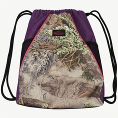 Team Realtree Max-1 Camo Purple Drawstring Bag $19.99  #realtreecamo #backtoschool