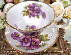 Staffordshire Tea Cup and Saucer Wide Mouth Stunning Pansy Floral Pattern Teacup | eBay