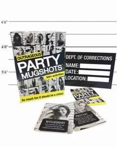 The Outrageous Party Mugshots game is so much fun it should be a crime! Includes 100+ activities. To avoid a real mugshot, please drink responsibly. Don't forget to share your photos on Instagram at #