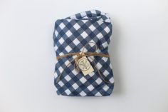 Navy Large Gingham Fitted Crib Sheet