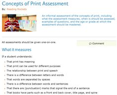 Concepts Of Print Assessment Freebie  Common Core
