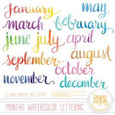 #lettering #watercolor #brushpen #pentelaquash #monthsoftheyear #clipart #png Un favorito personal de mi tienda Etsy https://www.etsy.com/mx/listing/270047043/letras-en-acuarela-cursiva-png-clipart