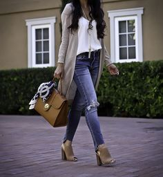 Casual fall outfit, cognac purse, block heel sandals, white camisole, tassel lariat necklace, step hem jeans, petite fashion blog, summer outfit idea, weekend outfit, stylish petite - click the photo for outfit details!