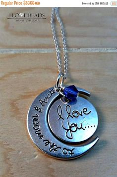 ON SALE i love you to the moon and back stamped pendant necklace with birthstone-love you to moon and back-sterling necklace-birthstone neck