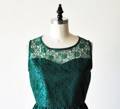 PROVENCE Emerald CUSTOM FIT  Emerald green lace dress by mfandj, $65.00