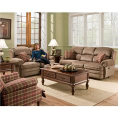 The Dory collection is the perfect addition for your home. Warm and inviting, its chenille upholstery is accented with burgundy plaid pillows featuring a...
