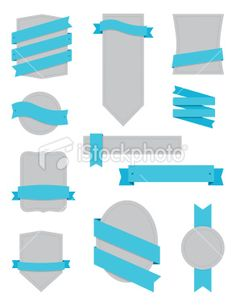 Badges and Ribbons Turquoise Royalty Free Stock Vector Art Illustration
