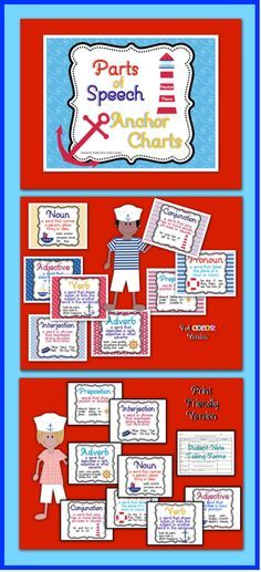nautical themed bulletin boards | themed Parts of Speech posters look great on walls or bulletin boards ...