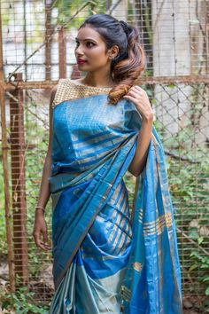 Blue Pochampally saree with zari motifs in the centre #saree #blouse #houseofblouse #indian #bollywood #style #blue #pochampally #zari #motifs