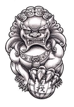 Image result for Foo dog tattoo                                                                                                                                                                                 Más