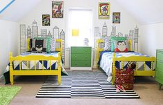 Modern Superhero Boys Room- I'm not usually one for characters BUT the modern take on this theme just made this room off the charts cute! The post Modern Superhero Boys Room appeared first on Children's Room. Superhero Boys Room, Little Boys Rooms, Little Boy Beds, Kid Rooms, Kid Spaces, Crawl Spaces, Boy Room, Kids Bedroom, Bedroom Ideas