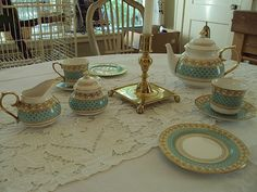 Thomas Goode Versailles Light Green Tea Set China/By Apoint HM the Queen England #ThomasGoode