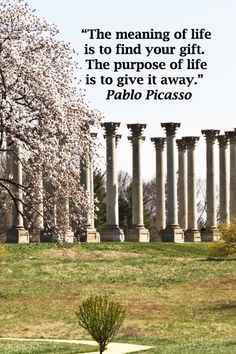 """""""The meaning of life is to find your gift. The purpose of life is to give it away."""" Pablo Picasso – Image by J&F McGinn Great Quotes, Quotes To Live By, Life Quotes, Inspirational Quotes, Picasso Images, Meaning Of Life, S Quote, Meaningful Words, Quotable Quotes"""
