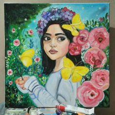Girl and flowers painting by : Nila Sitoresmi