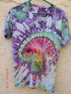 Mushroom ice-dye tie-dye purple & green v-neck t-shirt M by 710visuals on Etsy