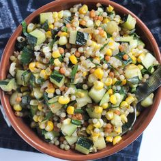 During the summer months, corn and zucchini are always in abundance. However, in our house, zucchini is also a bottom dweller on the list of popular summer veggies available. Yet every year, I plan… Zuchinni Recipes, Zucchini, Couscous Recipes, Salad Recipes, Israeli Couscous Salad, Pearl Couscous, Herb Recipes, Dinner Recipes, Easy Summer Meals