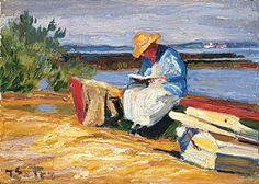 """Bild: Gemälde """"Lesende Frau mit Booten am Chiemseeufer"""""""