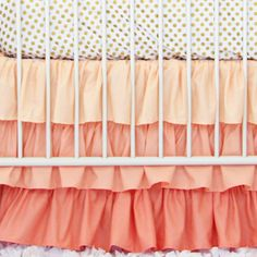 Caden Lane Baby Bedding - Coral and Gold Dot Ruffle Baby Bedding, $172.00 (http://cadenlane.com/coral-and-gold-dot-ruffle-baby-bedding/)