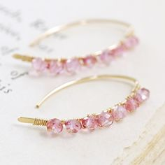 Wire Wrapped Pink Gemstone Earrings October Birthstone by aubepine