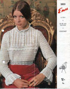 CR082  Womens CROCHET PATTERN ladies Crochet Blouse Womens Crochet Blouse Retro Crochet Sweater Lacy Crochet 34-38 inch 4 Ply PDF Instant Download
