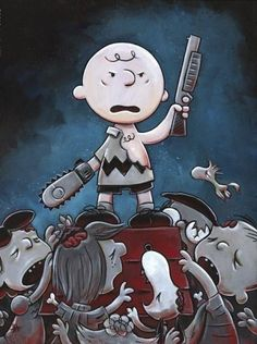 """Justin Hillgrove """"Army of Darkness , Charlie Brown 18"""" x 24"""" Limited A/P Canvas of 114"""