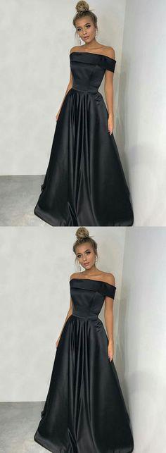 Simple Prom Dress,Black Long Prom Dress,Black Prom Dress,Off Shoulder Evening Dress