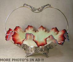 Antique Victorian Ruby Tipped Custard Glass Bride Basket Bowl Silverplate Frame   eBay