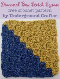 "Diagonal Box Stitch Square, free 6"" (15 cm) crochet pattern with video tutorial by Marie Segares @ucrafter. Part of the Mystery Lapghan CAL 2015 - 36 free crochet patterns for 6"" squares!"