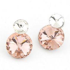 Shining Pink Crystal Stud Earrings