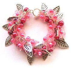 Leafy Pink Flower Bracelet Beaded Cluster Bracelet