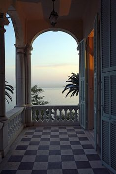 Menton evening light at Villa Maria Serena - All About Balcony Outdoor Rooms, Indoor Outdoor, Places Around The World, Around The Worlds, French Riviera, South Of France, Places To Go, Beautiful Places, Checker Board