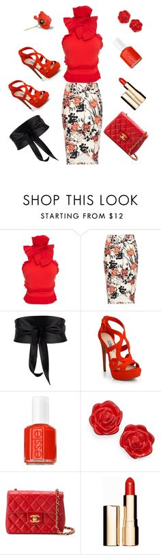 """""""Floral..."""" by louisaokonye ❤ liked on Polyvore featuring Antonio Berardi, Sisley, Prada, Essie, Kate Spade, Chanel, Clarins, floral and topnotch"""