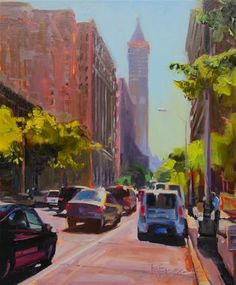"""Smith Tower Morning  Seattle, cityscape, oil painting by Robin Weiss"" - Original Fine Art for Sale - ©Robin Weiss"