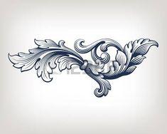 flower engraving: frame élément style vintage baroque de défilement de conception de modèle de gravure rétro
