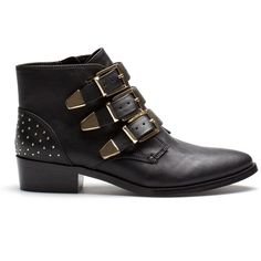 Pull & Bear Ankle Boots With Buckle ($96) ❤ liked on Polyvore