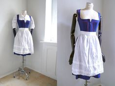 Blue Dirndl cotton German folk dress with by SuitcaseInBerlin