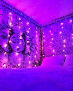Indie Room Decor, Cute Bedroom Decor, Room Design Bedroom, Teen Room Decor, Room Ideas Bedroom, Neon Bedroom, Chill Room, Retro Room, Aesthetic Bedroom