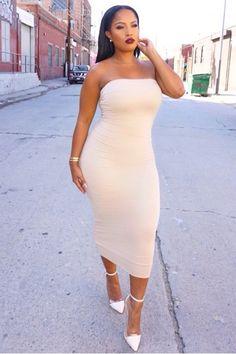 Sexy body-com midi tube dress