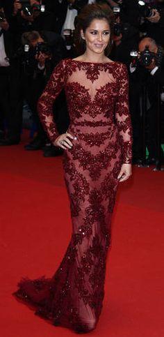 Cheryl Cole. Zuhair Murad. Burgundy dress.