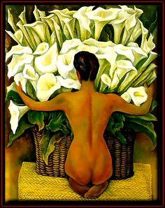 "Diego Rivera (Dec 8,1886 - Nov 24, 1957). ""Desnudo con Alcatraces"", 1944. Prominent Mexican painter husband of Frida Kahlo."