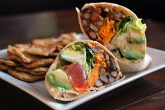 Chipotle Bean Wraps. I've used this recipe loosely as a guide a couple times. I love it. I used pureed chipotles instead of chipotle powder and mashed the avocado with the beans for uniformity. -AMR