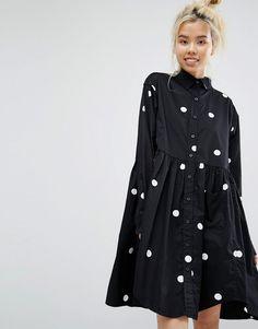 Lazy Oaf Mono Big Dot Oversized Shirt Smock Dress
