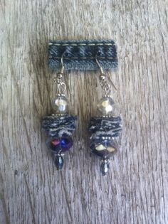 Earrings made with little peaces jeans. Idea                                                                                                                                                                                 More