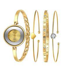58.95$  Buy now - http://aliesi.worldwells.pw/go.php?t=32638880547 - Fashion brand montre femme Women Gold Rhinestone Bangle Luxury Watch And Bracelet Set 587 Feida